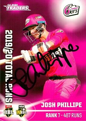 AU19.99 • Buy ✺Signed✺ 2020 2021 SYDNEY SIXERS BBL Cricket Card JOSH PHILIPPE Total Runs