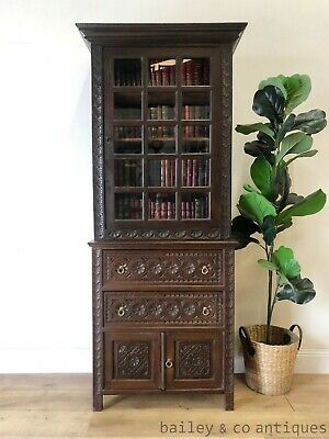 AU1675 • Buy Antique French Vitrine Bookcase Drawers Carved Chestnut Brittany - SF109