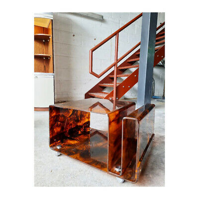 £300 • Buy Faux Tortoise Shell Side Table On Casters Perspex Retro 1970s 1960s