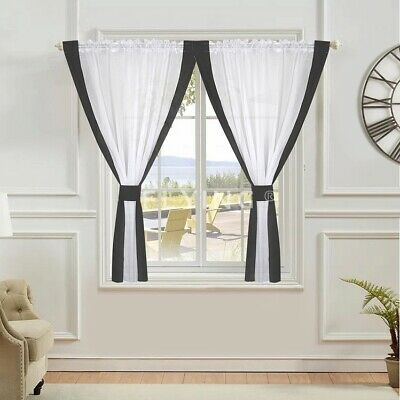 £19.99 • Buy PAIR READY MADE CURTAINS  VOILE Tape Top Pencil Pleat FREE Tie Backs.