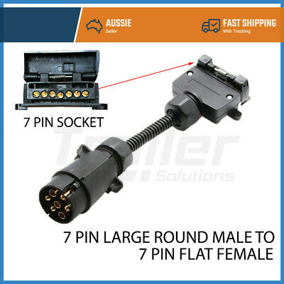AU16.98 • Buy 7 Pin Round Male Plug To 7 Pin Flat Female Socket Adaptor Trailer Connector