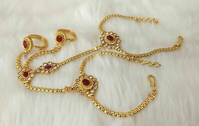 £14.95 • Buy Indian Jewelry Hath Punja Bollywood Ethnic Gold Plated Bracelet With Rings