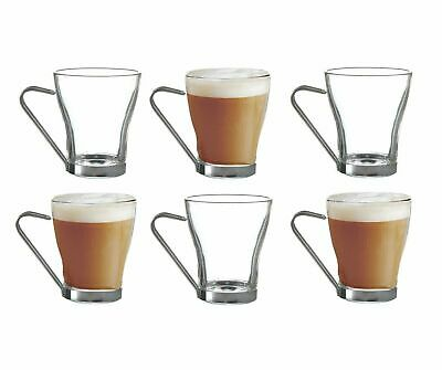 £10.75 • Buy Set Of 6 Coffee Glasses Cups Metal Handle Clear Glass Expresso Coffee Cappuccino