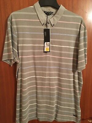 £12.50 • Buy Mens Marks And Spencers Autograph Polo Shirt Size Large Slim Fit Grey Stripe New