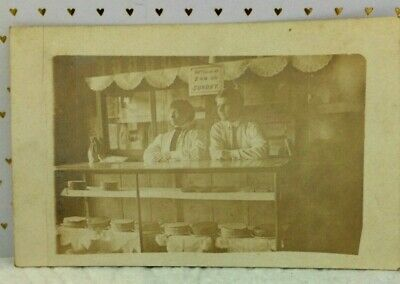 $8.50 • Buy Antique Post Card Sepia Photo Clerks Behind Bakery Shop Counter 1913