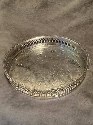 £24.99 • Buy Vintage Silver Plated Decorative Galleried Drinks Tray By Cavalier
