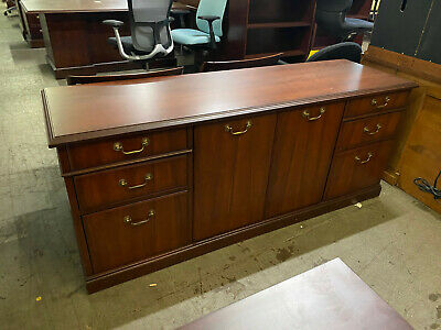 $319 • Buy STORAGE CREDENZA By KIMBALL OFFICE FURNITURE In MAHOGANY WOOD