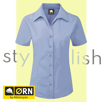 £7.49 • Buy Ladies Blue Shirt Short Sleeve Blouse Button Up Formal Office Wear Size 6-30 UK
