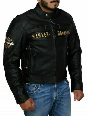 $ CDN146.99 • Buy Harley Davidson HD Passing Link Real Leather Motorcycle Jacket With Free Shippin