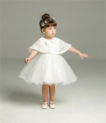 £22.59 • Buy Gown Lace Baptism Dress Baby Elegant Bow Christening Christening Dress With Cape