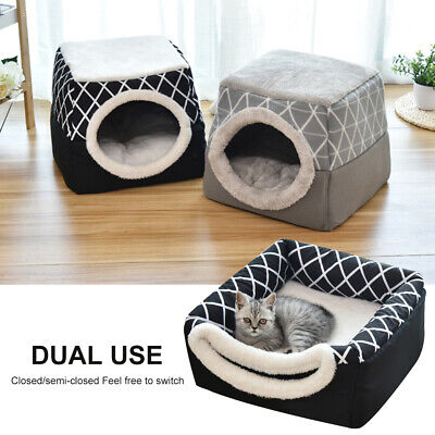 £15.59 • Buy Dog Pet Cat Bed House Portable Warm Kennel Igloo Cave Nest Pad Cushion Washable