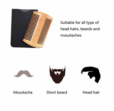 £3.99 • Buy Mens Boys Natural Wood Wooden Hair Beard Moustache Comb Brush Pouch Professional