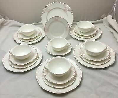 £124.99 • Buy Villeroy & Boch Palatino 24 Piece Tea Service Arco Weiss With Pink Rim NEW