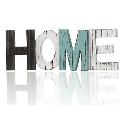 £17.39 • Buy Rustic Wood Cutout Letters Free Standing Wooden Block HOME Word Sign
