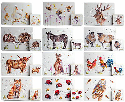 £13.99 • Buy Hardback Placemats And 4 Coasters - Watercolour Animal Designs (Set Of 4)