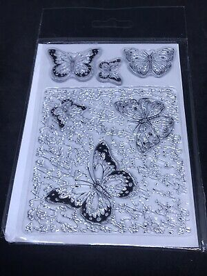 £3.99 • Buy  Kanban Clear Stamp Set - Butterfly Background & Butterflies