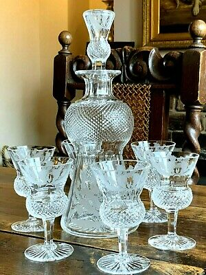 £355 • Buy Stunning Edinburgh Crystal Thistle Cut Glass Decanter With Six Matching Glasses