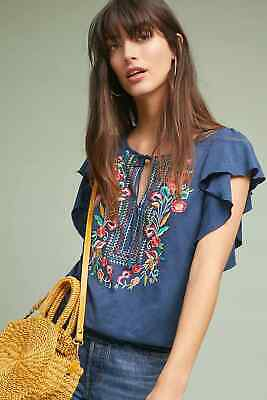 $ CDN75.49 • Buy NWT Anthropologie Ranna Gill Enesta Embroidered Blouse Top Size: Large