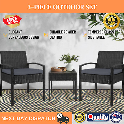 AU166.96 • Buy Outdoor Furniture Rattan Wicker Table Chair Set Lounge Setting Garden Black NEW