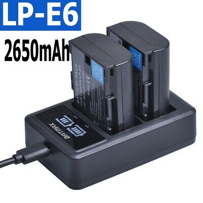 £11.44 • Buy LP-E6 E6N Battery 2650mAh + LED Dual Charger For Canon EOS 5DS R 5D Mark II 5D
