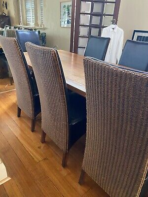AU190 • Buy Amazing Very Comfortable Rattan And Leather Dining Chairs 8 Available