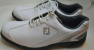 $34.99 • Buy Footjoy Sport Lt Mens ⛳golf Shoes White Grey Black Lace Up Spikes 8.5 Pre-owned