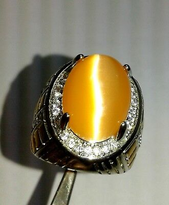 $79.99 • Buy 65 Ct Beautiful Orange Color Oval Cats Eye Gemstone Men's Ring SIZE 10 , D7925
