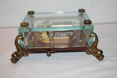 £290.87 • Buy Vintage Swiss Reuge Music Box, Crystal Clear Glass Case  Dolphin Legs