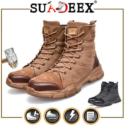 $36.99 • Buy Men's Safety Boots Army Military Police Tactical Steel Toe Cap Combat Work Shoes