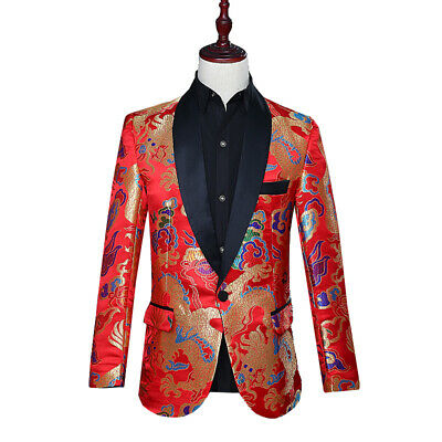 $67.91 • Buy Mens Chinese Style Red Dragon Suit Blazer Wedding Jackets Stage Costume Coats Sz