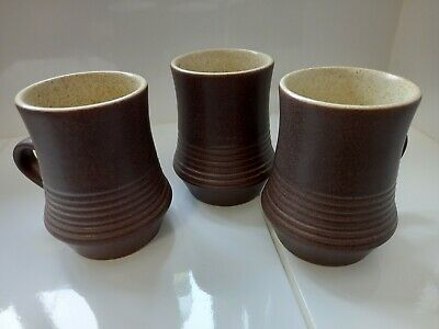 £15 • Buy Set Of 3 Brown Rustic Pottery Earthenware Mugs Excellent Condition