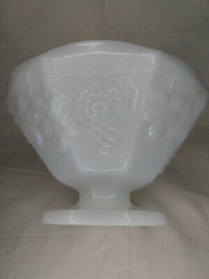 $11 • Buy Milk Glass 8 Sided Large Compote Bowl With Grapes And Leaves (9 X5 )