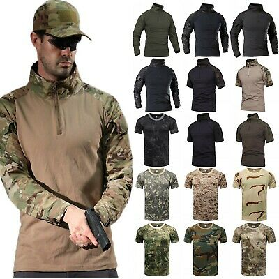 $11.68 • Buy Mens Camo Long/Short Sleeve Combat Military Tactical T Shirts Pullover Gym Sport