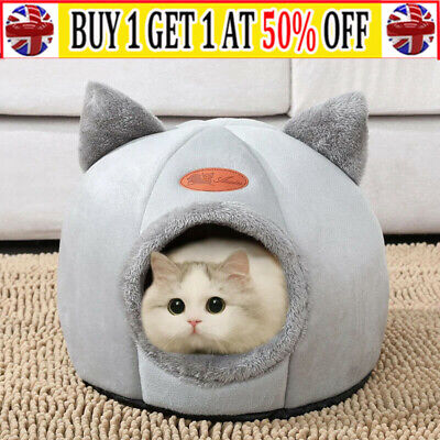 £12.56 • Buy Cat Small Dog House Bed Kitten Pet Igloo Soft Fleece Cave Puppy Cozy Kitten Dome