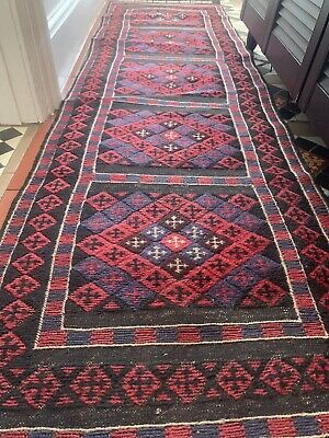 £149.99 • Buy 100% Wool Hand Woven Moroccan Runner Hand Knotted And Embroidered Kilim