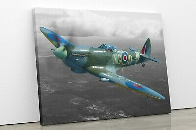 £9.99 • Buy Spitfire On Black And White World War 2 II Framed Canvas Wall Art Picture Print
