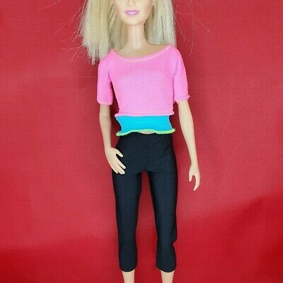 £6.95 • Buy Barbie Pink Yoga Made To Move Fashionista Doll Clothes Set Leggings Sweat Top