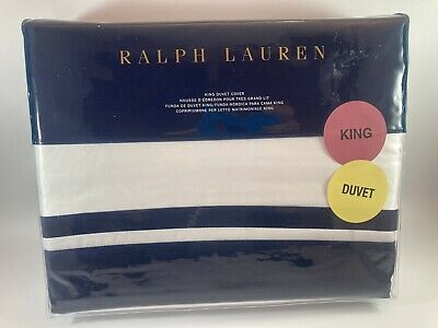 £106.62 • Buy Ralph Lauren Home BOWERY POLO NAVY Pima Cotton Duvet Cover  KING SIZE - NEW