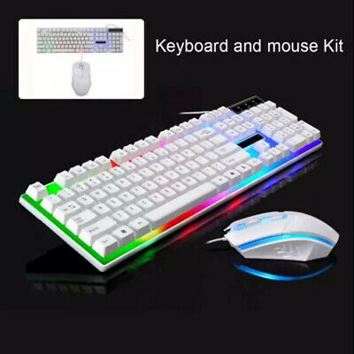 £7.89 • Buy Gaming Keyboard Mouse Set Rainbow LED Wired USB For PC Laptop PS4 Xbox One 360UK