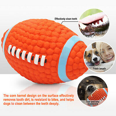 £6.99 • Buy 2Pcs Dog Pet Rugby Ball Toy Play Squeaky Latex Dog Soft Interactive Chew Ball UK