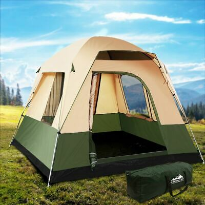 AU115.95 • Buy 4 Person Camping Tent Hiking Beach Tents Portable Outdoor Shelter Green & Beige