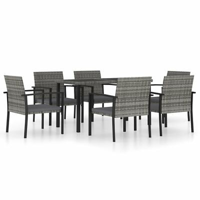 AU592.95 • Buy PE Rattan Garden Dining Set 7 Pcs Grey Lightweight Outdoor Table And Chairs