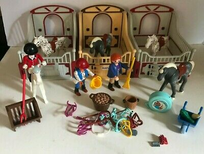 £29.95 • Buy Playmobil Three Horse Stalls  For Stables Horses Figures Accessories Reins Dusty