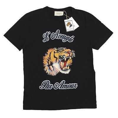AU248.81 • Buy GUCCI T-Shirt Gr S L'Aveugle Par Amour Tiger Schwarz Black Made In Italy Embroid