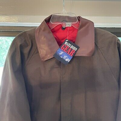 $89.95 • Buy Mens MARLBORO Classics Western Jacket Duster Trench Coat Lined Red Large, NWT!