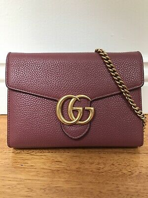 AU1890 • Buy Pre-Loved Rare Dusty Pink Gucci GG Marmont Wallet On Chain Bag