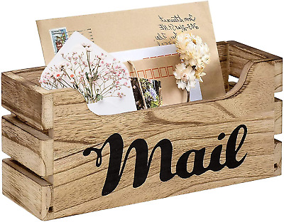 $20.80 • Buy Farmhouse Decor Rustic Mail Holder Box, Rustic Wood Tabletop Mail Organizer With