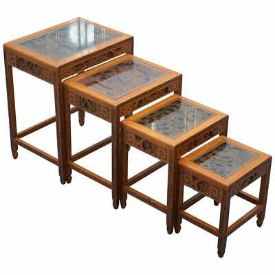 £600 • Buy Carved Nest Of Chinese Tables Depicting Scenes Of Noblemen Dragon Boat Flowers