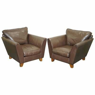 £850 • Buy Pair Of Marks & Spencers Brown Leather Armchairs Rrp £1099 Each Contemporary