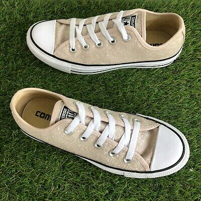 £22 • Buy Converse Trainers Size 4 UK Beige Pink Peach Glitter Sequin Low Tops (12)